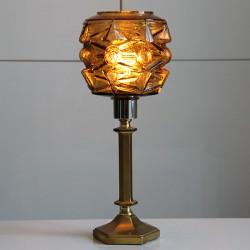 Mässingsfot som fått en brun glaskärm från 60-70 talet.