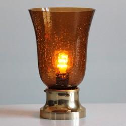 Lampot i lättmetal och kupa i spräckligt bruntglas.