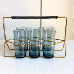 6 st rökfärgade glas i ställ